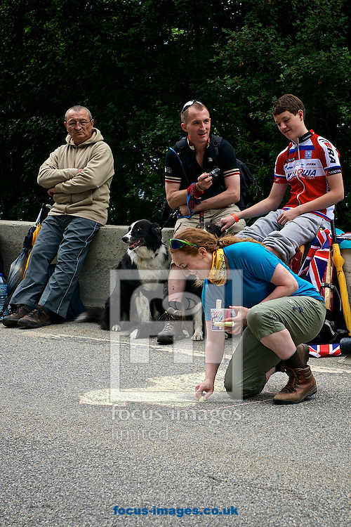 Picture by Ian Wadkins/Focus Images Ltd +44 7877 568959<br /> 18/07/2013<br /> British cycling fans create good luck message for race leader and yellow jersey holder Chris Froome ahead of the riders arrival during stage 18 of the 2013 Tour de France in Bourg d'Oisans, France.