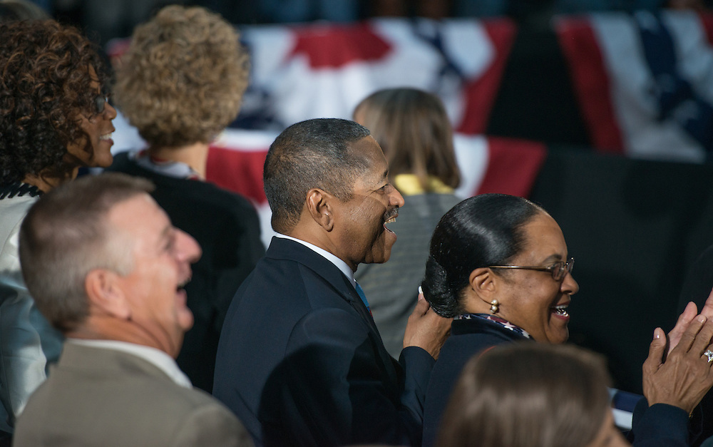Ohio University President Dr. Roderick McDavis and the First Lady Deborah McDavis clap following a speach by President Obama on the Ohio University campus. Photo by Ben Siegel/ Ohio University