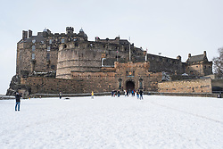 Exterior view of Edinburgh Castle from Esplanade after heavy snow causing castle to close to the public, Scotland, United Kingdom