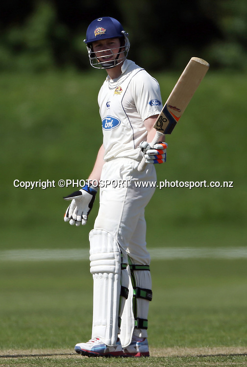 Michael Bracewell after reaches his half century while batting for Otago. Canterbury Wizards v Otago Volts, Mainpower Oval, Rangiora, Tuesday 30 October 2012. Photo : Joseph Johnson/photosport.co.nz
