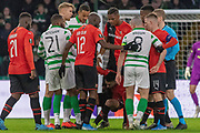 Celtic Captain Scott Brown (C) (#8) leaves one on Romain Del Castillo (22) of Rennes during the Europa League match between Celtic and Rennes at Celtic Park, Glasgow, Scotland on 28 November 2019.