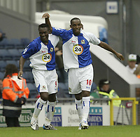 Photo: Aidan Ellis.<br /> Blackburn Rovers v Manchester City. The Barclays Premiership. 17/09/2006.<br /> rovers Benni McCarthy celebrates the third goal with Shabani Nonda (L)