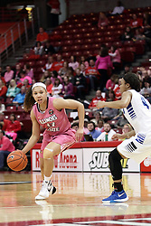 05 February 2016: Katrina Beck(13) looks to pass the 3 point line and Cierra Ceazer. Illinois State University Women's Redbird Basketball team hosted the Sycamores of Indiana State for a Play4 Kay game at Redbird Arena in Normal Illinois.
