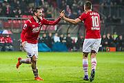 ALKMAAR - 20-02-2016, AZ - FC Groningen, AFAS Stadion, 4-1, AZ speler Vincent Janssen heeft de 1-0 gescoord, AZ speler Markus Henriksen