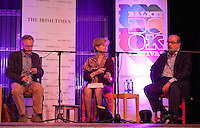 Fintan O'Toole, Olivia O'Leary and Salman Rushdie, at the 'Freedom of Speech' debate at the Dalkey Book Festival, Dalkey Town Hall, Dalkey, Dublin, Ireland. Saturday 21st June 2014.