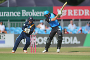 Martin Guptil of Worcestershire Rapids smashes a four during the Natwest T20 Blast North Group match between Derbyshire County Cricket Club and Worcestershire County Cricket Club at the 3aaa County Ground, Derby, United Kingdom on 8 July 2018. Picture by Mick Haynes.