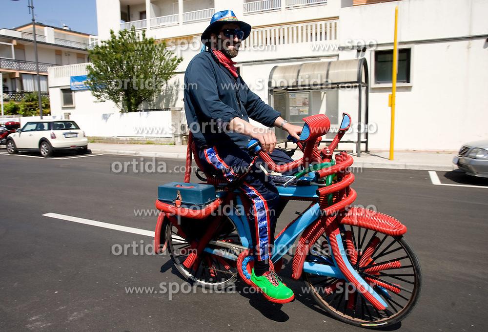 Funny Biker at start point of the 198 km long 3rd stage from Grado, Italy to Valdobbiadene, Italy at 92nd Giro d'Italia, on May 11, 2009, in Grado, Italy.  (Photo by Vid Ponikvar / Sportida)