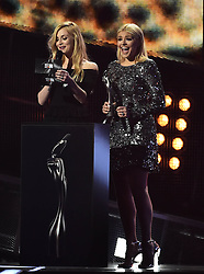 Fearne Cotton and Holly Willoughby on stage at the BRIT Awards 2017, held at The O2 Arena, in London.<br /><br />Picture date Tuesday February 22, 2017. Picture credit should read Matt Crossick/ EMPICS Entertainment. Editorial Use Only - No Merchandise.