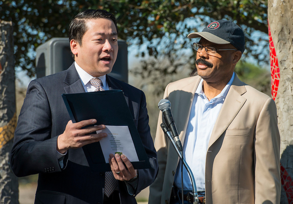 State Representatives Gene Wu, left, and Borris Miles, right, comment during Sharpstown High School groundbreaking ceremony, February 7, 2015.