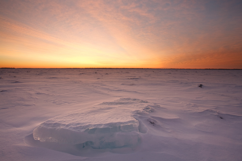 Colorful Winter Dawn with  Ice Formations on Lake Ontario Canada