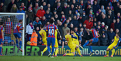 LONDON, ENGLAND - Saturday, February 21, 2015: Crystal Palace's Glenn Murray [L] scores the a consolation goal against Arsenal during the Premier League match at Selhurst Park. (Pic by David Rawcliffe/Propaganda)