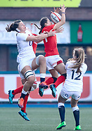 Jasmine Joyce of Wales goes for the high ball<br /> <br /> Photographer Simon King/Replay Images<br /> <br /> Six Nations Round 3 - Wales Women v England Women - Sunday 24th February 2019 - Cardiff Arms Park - Cardiff<br /> <br /> World Copyright © Replay Images . All rights reserved. info@replayimages.co.uk - http://replayimages.co.uk
