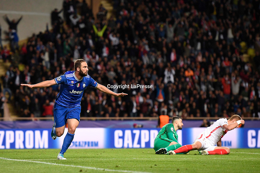 Photo LaPresse - Daniele Badolato<br /> 03 May 2017 Montecarlo ( Monaco )<br /> Sport Soccer<br /> Monaco - Juventus<br /> Champions League 2016 2017 - Semifinals first leg <br /> In the pic: Higuain celebrates 0-2 goal