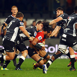 DURBAN, SOUTH AFRICA - JULY 15: Etienne Oosthuizen of the Cell C Sharks tackling Liaki Moli of the Sunwolves during the Super Rugby match between the Cell C Sharks and Sunwolves at Growthpoint Kings Park on July 15, 2016 in Durban, South Africa. (Photo by Steve Haag/Gallo Images)