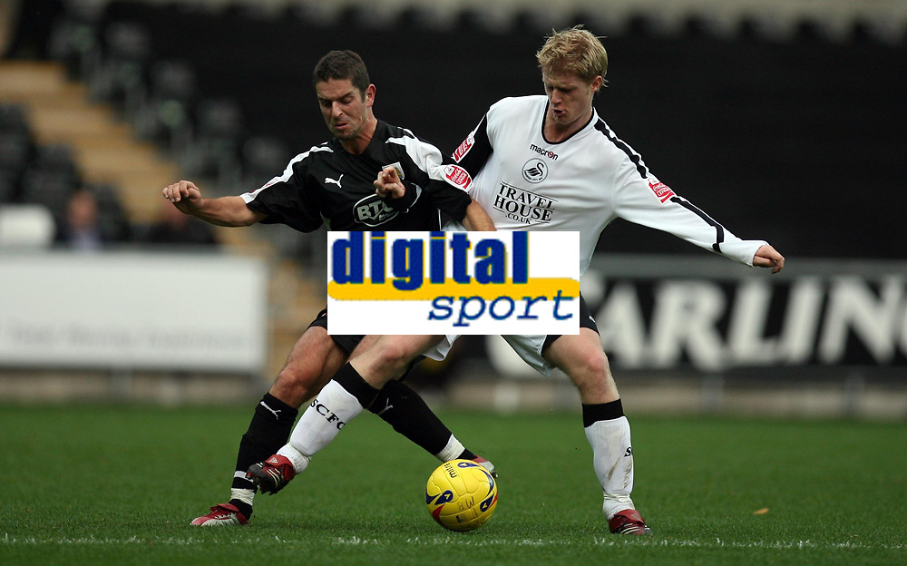 Photo: Rich Eaton.<br /> <br /> Swansea City v Bristol City. Coca Cola League 1. 26/11/2006. Alex Russell left of Bristol and Swanseas Alan Tate right