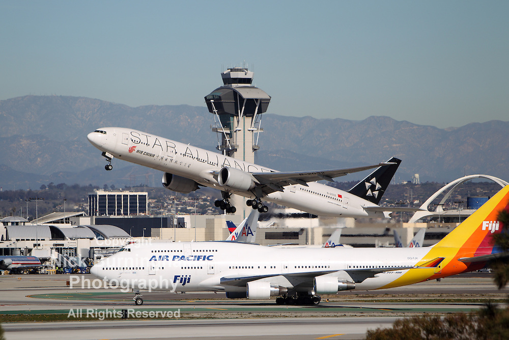 LOS ANGELES, CALIFORNIA, USA - JANUARY 15, 2013 - Star Alliance Air China Boeing 777 takes off at Los Angeles Airport on January 15, 2013. The Boeing 777 is the world's largest twinjet plane.