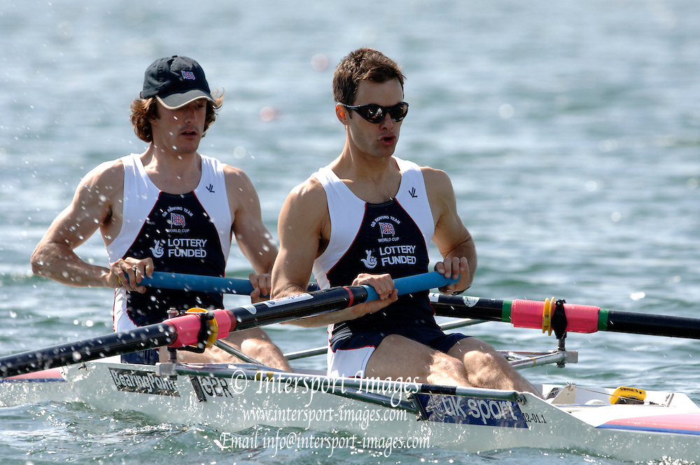 2005 FISA World Cup, Dorney Lake, Eton, ENGLAND, 27.05.05. GBR LM2- Nick English and stroke Daniel Harte.Photo  Peter Spurrier. .email images@intersport-images...[Mandatory Credit Peter Spurrier/ Intersport Images] , Rowing Courses, Dorney Lake, Eton. ENGLAND