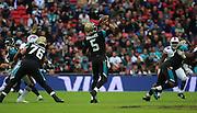 Jacksonville Jaguars Blake Bortles thowing a pass during the Buffalo Bills v Jacksonville Jaguars NFL International Series match at Wembley Stadium, London, England on 25 October 2015. Photo by Matthew Redman.