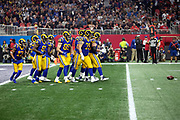The Los Angeles Rams offense breaks from a huddle in their own end zone as they head to the line of scrimmage during the NFL Super Bowl 53 football game against the New England Patriots on Sunday, Feb. 3, 2019, in Atlanta. The Patriots defeated the Rams 13-3. (©Paul Anthony Spinelli)