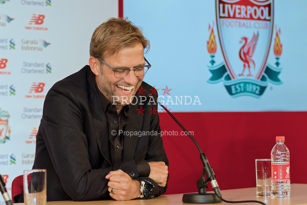 LIVERPOOL, ENGLAND - Friday, October 9, 2015: Liverpool's new manager Jürgen Klopp during a press conference at Anfield. (Pic by David Rawcliffe/Propaganda)