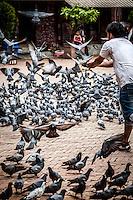 Pilgrims play with pigeons near Boudhanath in Kathmandu, Nepal.