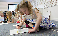 """Sophie Pankhurst highlights her lines within the poem """"Sick"""" by Shel Silverstein during the Winnipesaukee Playhouse Vacation Week Theater Camp in Meredith on Wednesday morning.  (Karen Bobotas/for the Laconia Daily Sun)"""