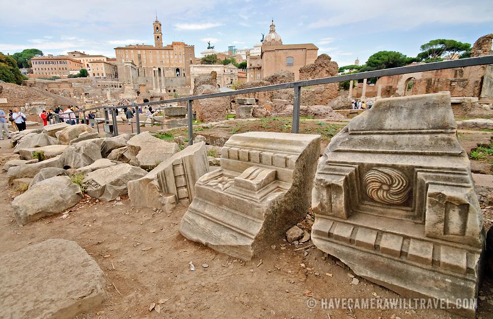 ROME, Italy - Roman ruins on the Foro Romano