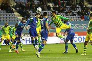 Last minute scramble in the box as West Bromwich Albion search for a late winner during the EFL Sky Bet Championship match between Wigan Athletic and West Bromwich Albion at the DW Stadium, Wigan, England on 11 December 2019.