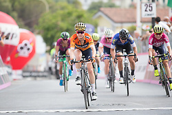 Megan Guarnier (USA) of Boels-Dolmans Cycling Team wins the sprint for third on Stage 8 of the Giro Rosa - a 141.8 km road race, between Baronissi and Centola fraz. Palinuro on July 7, 2017, in Salerno, Italy. (Photo by Balint Hamvas/Velofocus.com)