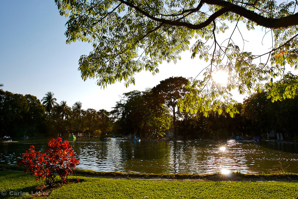 A nice view of the artificial lake in the natural park of the city of Acapulco in  Mexico