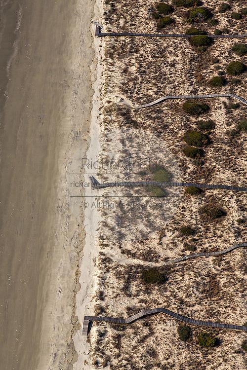 Aerial view private beach walkways in Kiawah Island, SC.