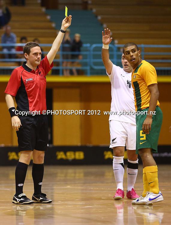 Keenan Duimpies of Australia is yellow carded. ASB Trans Tasman Cup, Futsal Whites v Futsal Roos, ASB Stadium, Kohimarama, FSaturday 22 September 2012. Photo: Simon Watts/photosport.co.nz