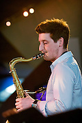 Tom Richard on the saxophone leader of the Tom Richards Orchestra at the Friday Tonic concert in 2008. Frontroom, Queen Elizabeth Hall, Southbank Centre, London