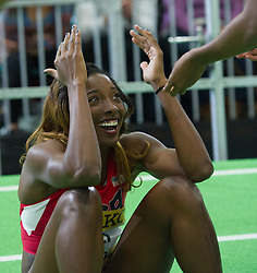 Nia Ali of the United States reacts after winning the Wemen's 60 metres hurdles final during day two of the IAAF World Indoor Championships at Oregon Convention Center in Portland, Oregon, the United States, on March 18, 2016. EXPA Pictures © 2016, PhotoCredit: EXPA/ Photoshot/ Yang Lei From Chongqing<br /> <br /> *****ATTENTION - for AUT, SLO, CRO, SRB, BIH, MAZ, SUI only*****