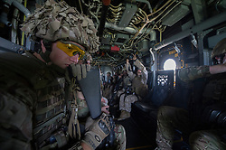 Image shows Captain James Gilbert on board an Osprey as troops from 77 Brigade exercise with the United States Marine Corps and Army at Quantico Marine Corps Base, Quantico Virginia. <br /> <br /> 22/05/2015<br /> <br /> Elements of 77X are working with American troops on Combined Unit Exercise (CUX) 15.2 - a 3 week exercise meant to test Marine Corps Information Operations Centre (MCIOC) personnel in a variety of Information<br /> Operation techniques. <br /> <br /> <br /> Credit should read: Cpl Mark Larner RY