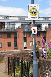 Neighbourhood Watch sign by River Wensum, Norwich UK