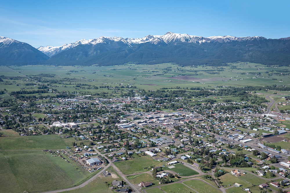 Aerial view of the town of Enterprise in Oregon's Wallowa Valley.