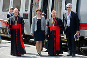 """Vatican City may 28th 2016, pope meets the """" Children's train """". In the picture Gianfranco Ravasi, Gioia Ghezzi, Giuseppe Bertello, Renato Mazzoncini"""