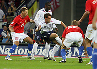 Photo: Rich Eaton.<br /> <br /> England v Russia. UEFA European Championships Qualifying. 12/09/2007. England's Michael Owen (c) scores the opening goal of the game.