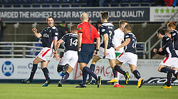 Falkirk's David McCracken celebrates after scoring their goal.<br /> Falkirk 1 v 0 Hibernian, Scottish Championship game played 6/12/2014 at The Falkirk Stadium .