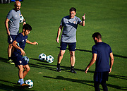 SEVILLE, SPAIN - AUGUST 21:  Head Coach of Sevilla FC Eduardo Berizzo (C) gives instructions to Borja Lasso of Sevilla FC (L) during the training session prior to their UEFA Champions League match against Istambul Basaksheir at the Sevilla FC training ground on August 21, 2017 in Seville, Spain.  (Photo by Aitor Alcalde Colomer/Getty Images)