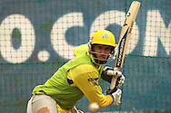 Mike Hussey of the Chennai Super Kings looks to attack a delivery during the Superkings training session held at St Georges Park in Port Elizabeth on the 20 September 2010..Photo by: Shaun Roy/SPORTZPICS/CLT20