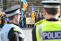 Pictured: Supporters of professor Ponsati gather outside the court.<br /> <br /> Former Catalan government minister Professor Clara Ponsati appeared in court in Edinburgh, Scotland today, in response to a European arrest warrant issued by the Spanish prosecutors following the disputed Catalan independence referendum last year, which Spain has ruled illegal.<br /> <br /> © Dave Johnston/ EEm