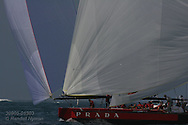 Italy's team Luna Rossa runs downwind under spinnaker during America's Cup international sailing yacht race; Valencia, Spain.