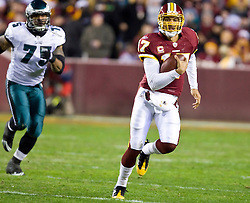 Washington Redskins quarterback Jason Campbell (17) breaks free on a quaterback scramble.  The Washington Redskins defeated the Philadelphia Eagles 10-3 in an NFL football game held at Fedex Field in Landover, Maryland on Sunday, December 21, 2008.