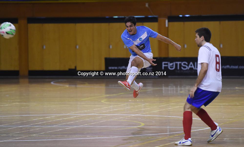 Josh Stevenson for Central Futsal Hawkes Bay v AFF Futsal. National Futsal League, Series 3. ASB Stadium, Auckland, New Zealand. Friday 5 December 2014. Photo: Andrew Cornaga/photosport.co.nz
