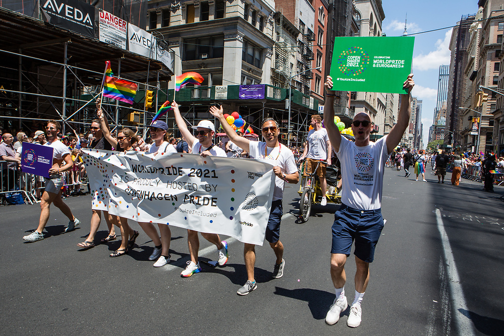 New York, NY - 30 June 2019. The New York City Heritage of Pride March filled Fifth Avenue for hours with participants from the LGBTQ community and it's supporters. Marchers promote the 2021 World Pride and Eurogames in Copenhagen in 2021.