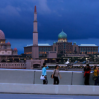 Putrajaya's landmark, Putra Mosque (left) and Perdana Putra, prime minister's office building at dusk. Putrajaya is the Malaysia's administrative capital.