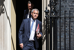London, UK. 23 July, 2019. Stephen Barclay MP, Secretary of State for Exiting the European Union, leaves 10 Downing Street following the final Cabinet meeting of Theresa May's Premiership. The name of the new Conservative Party Leader, and so the new Prime Minister, is to be announced at a special event afterwards.
