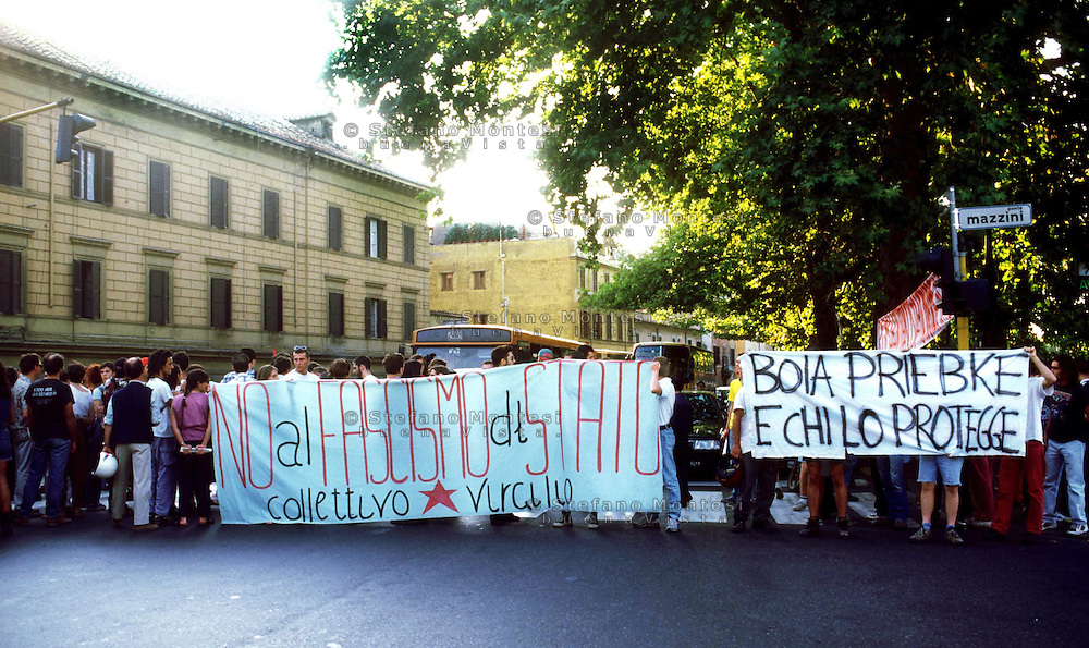 Rome August 1996  ..Demonstration in front of the jal  of Regina Coeli against the  sentence of the trial   SS Captain Erich Priebke..